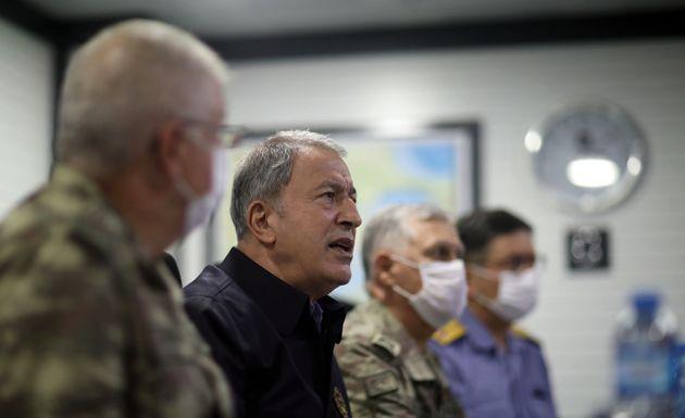 KOCAELI, TURKEY - AUGUST 14: Turkish National Defense Minister Hulusi Akar and Turkish Armed Forces'...