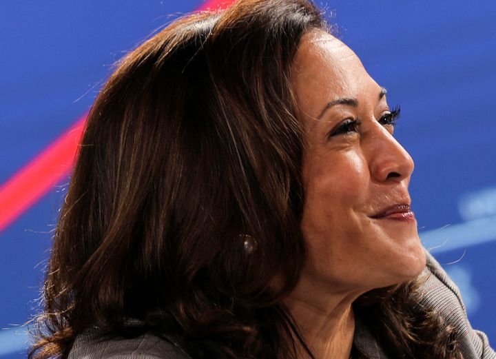 Presumptive Democratic vice presidential nominee Kamala Harris participates in a briefing on the coronavirus during a campaig