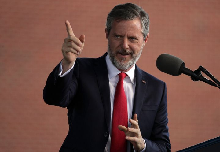 Jerry Falwell Jr. speaks during a commencement ceremony at Liberty University on May 13, 2017 in Lynchburg, Virginia.&nb