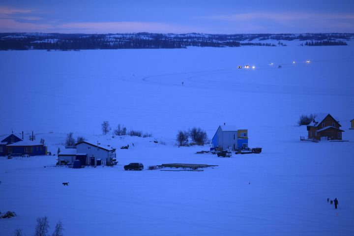 Evening rush hour traffic on the frozen Great Slave Lake.
