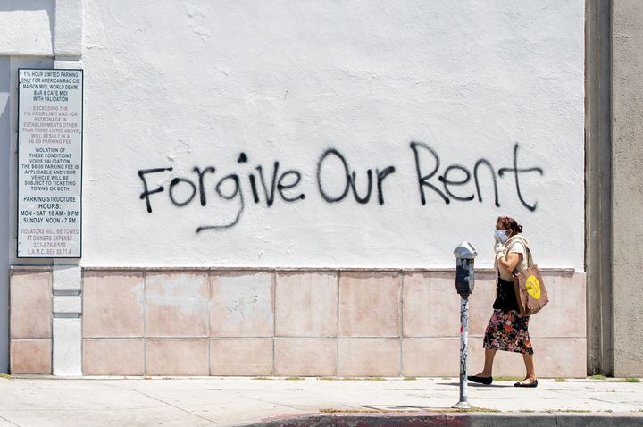 Graffiti in Los Angeles highlights the looming eviction crisis if Congress fails to address rent relief in a new COVID-19 aid