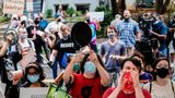 WASHINGTON, DC - AUGUST 15: Demonstrators gather outside of the condo of President Donald Trump donor and current U.S. Postmaster General  Louis Dejoy on August 15, 2020 in Washington, DC. The protests are in response to a recent statement by President Trump to withhold USPS funding that would ensure that the post office would be unable handle mail-in voting ballots for the upcoming 2020 Election. (Photo by Michael A. McCoy/Getty Images)
