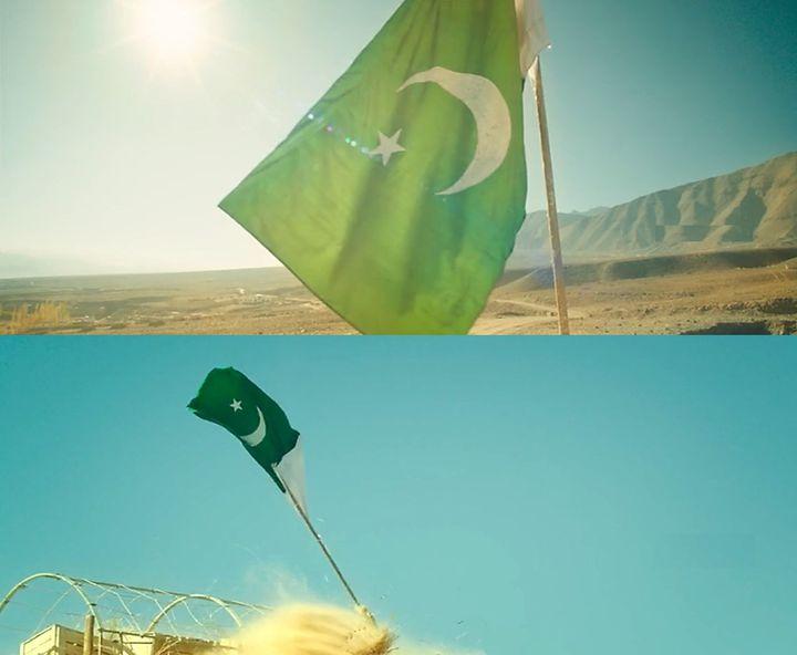 The protagonist brings down the Pakistan flag in Kaatru Veliyidai