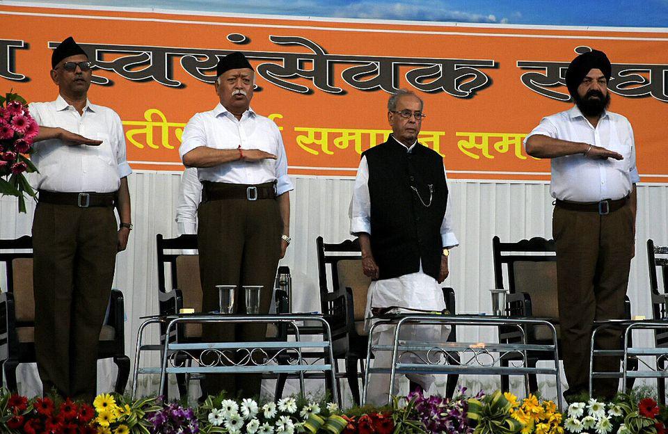 Mohan Bhagwat, chief of the Hindu nationalist organisation Rashtriya Swayamsevak Sangh (RSS), takes an...