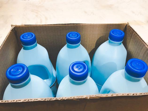 Plastic bottles inside a cardboard