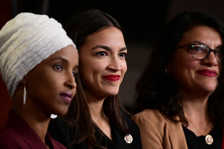 Reps. Ilhan Omar (D-Minn.), from left, Alexandria Ocasio-Cortez (D-N.Y.) and Rashida Tlaib (D-Mich.) hold a news conference a