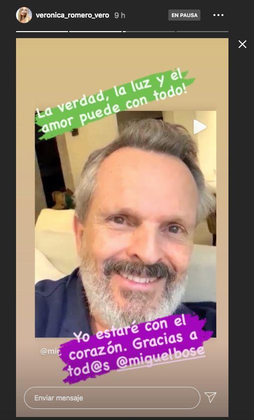Mensaje de Verónica Romero en Instagram a Miguel