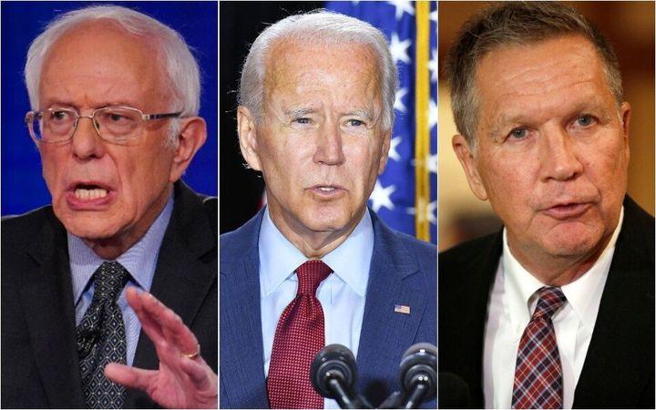Sen. Bernie Sanders (left) and former Ohio Gov. John Kasich (right) reveal the breadth of former Vice President Joe Biden&rsq