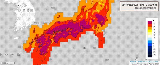 8月17日の最高気温の分布