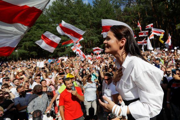 Svetlana Tikhanovskaya, el pasado 2 de agosto en un acto de campaña en