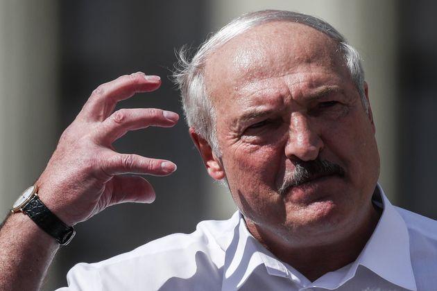 MINSK, BELARUS - AUGUST 16, 2020: Belarus' President Alexander Lukashenko gestures as he gives a speech...