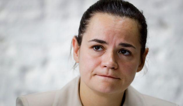 Svetlana Tikhanovskaïa, ici à Minsk le 10 août, s'est dite prête à diriger...