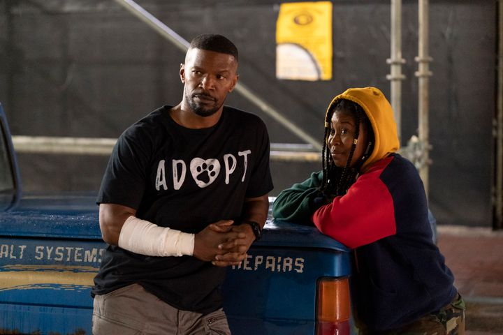 "Jamie Foxx and Dominique Fishback in ""Project Power"" on Netflix."