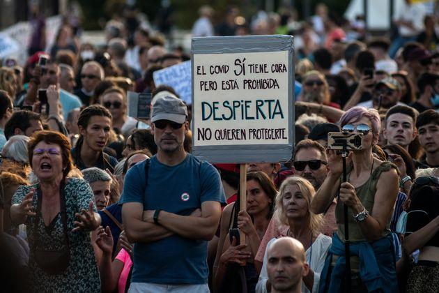 Manifestación antimascarillas convocada el domingo 14 de agosto en la plaza de Colón en