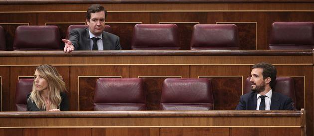La exportavoz del PP Cayetana Álvarez de Toledo junto al presidente popular, Pablo Casado, el...