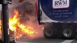 This Flaming Pile Of Garbage In Toronto Is Literally