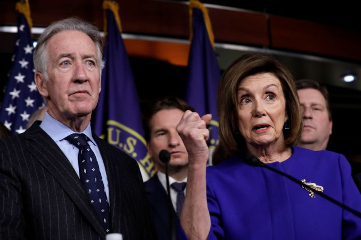 Neal (left) stands alongside House Speaker Nancy Pelosi. The speaker, who has endorsed the congressman, is featured in one of