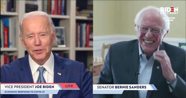 (자료사진) 버니 샌더스는 민주당 경선에서 하차한 뒤 조 바이든에 대한 지지를 선언했다. 사진은 온라인으로 생중계 된 샌더스의 지지선언 회견. 2020년