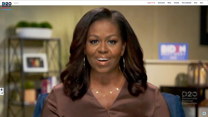"""Michelle Obama's ByChari """"Vote"""" necklace was the most-searched term during the last hour of the Democratic National Convention on Monday."""