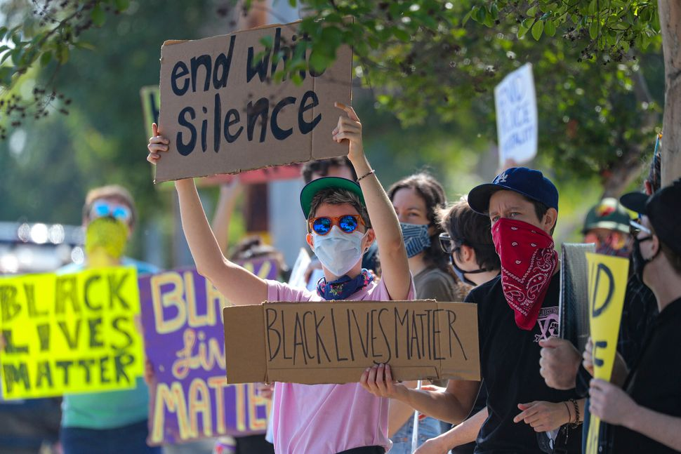 A police brutality protest in Burbank, California, on June 4, organized by SURJ.