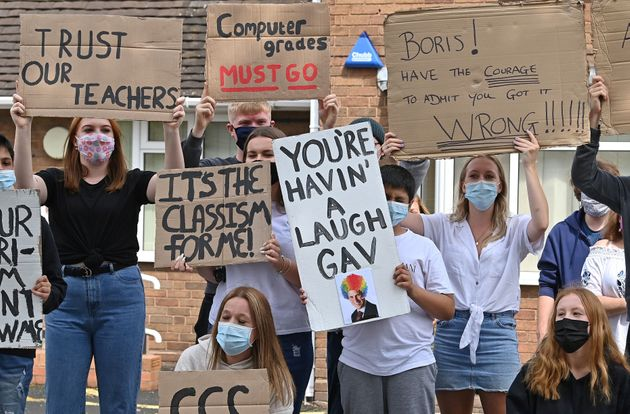 Students protest the A-level grading