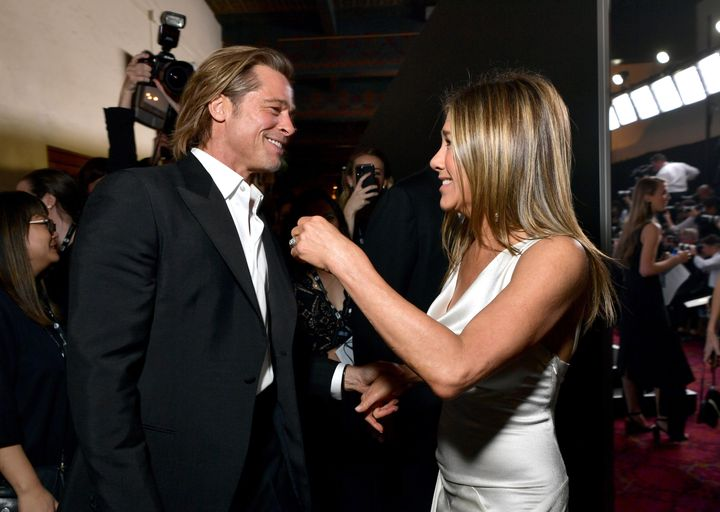 Brad Pitt and Jennifer Aniston backstage at the SAG Awards in 2019.