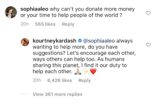 Kourtney Kardashian Responds To Critic's 'Donate More Money' Comment With