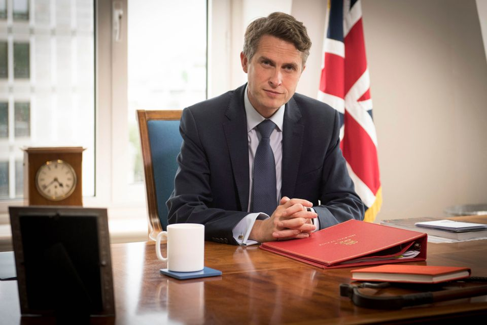 Education secretary Gavin Williamson poses for a photo in his office at the Department of Education in