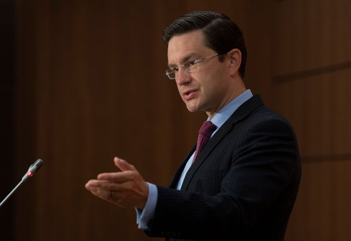 Conservative MP Pierre Poilievre speaks about the resignation of the finance minister during a news conference on Aug. 18, 2020 in Ottawa.