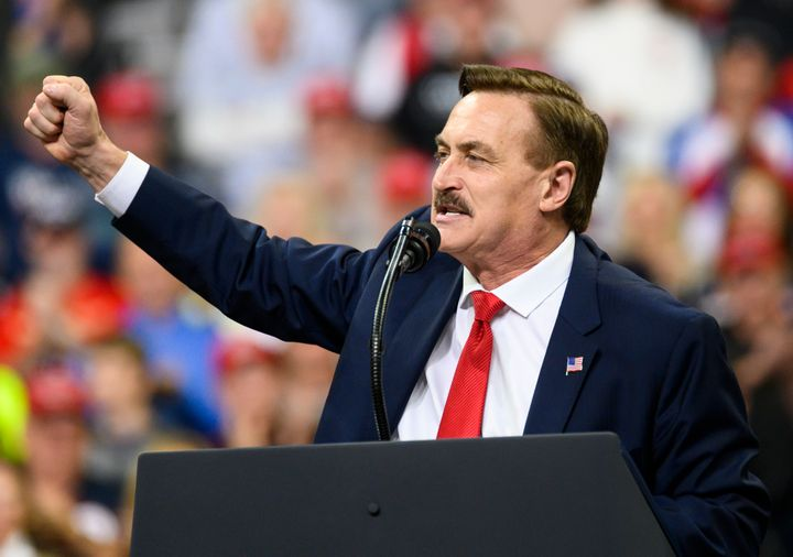 Mike Lindell, CEO of MyPillow, speaks during a rally for President Donald Trump in Minneapolis in 2019. Lindell is an outspok