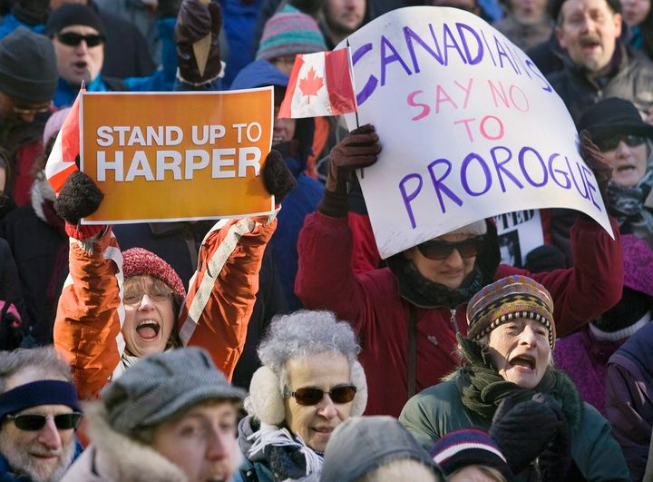 Many Canadians protested in opposition to Prime Minister Stephen Harper's move to suspend parliament for the first few months of 2010.