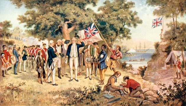 Captain James Cook taking possession of New South Wales in the name of the British Crown,