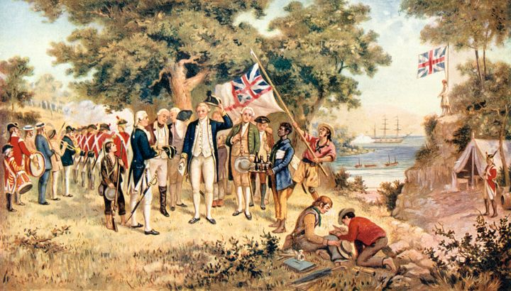 Captain James Cook taking possession of New South Wales in the name of the British Crown, 1770.