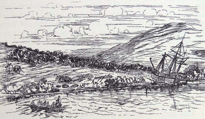 Captain Cook's vessel beached at the entrance of Endeavour River, where the seaport of Cooktown now stands. From an engraving in the Atlas of Cook's first Voyage.