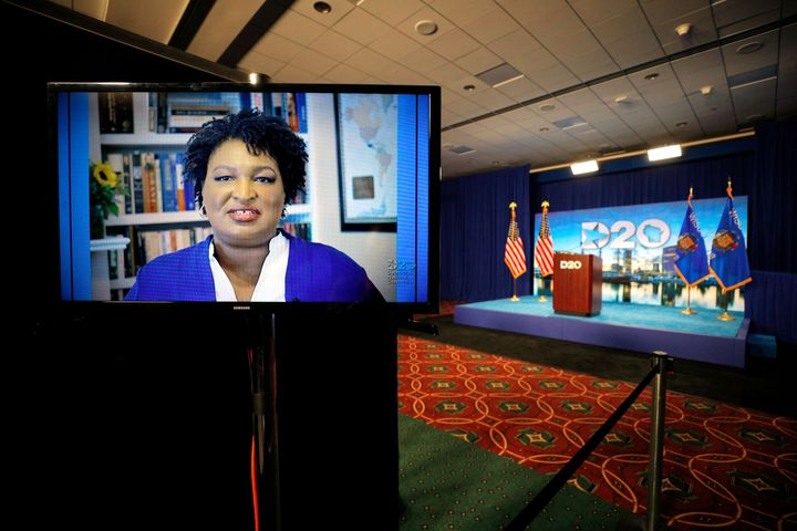 Former Georgia state Rep. Stacey Abrams contributes to a group keynote address for the Democratic National Convention with 16