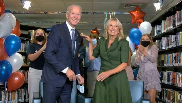 Democratic presidential candidate Joe Biden, his wife Dr Jill Biden, and members of the Biden family,...