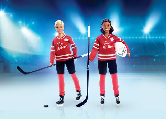 Hockey-theme Barbie dolls are seen here in an undated handover photo. Both versions of these dolls will...