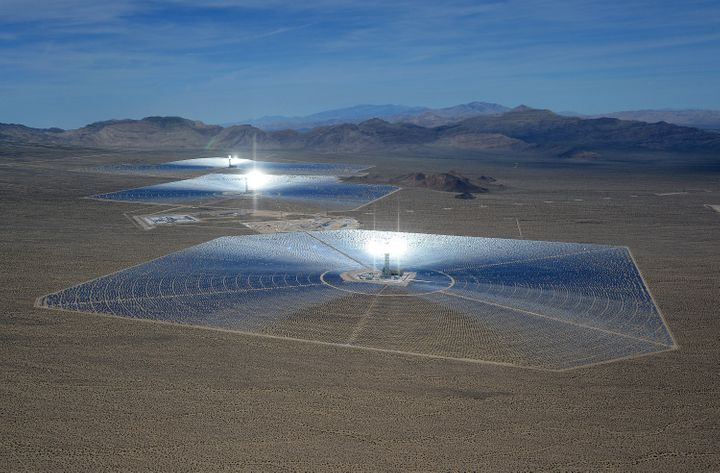 The Ivanpah Solar Electric Generating System in the Mojave Desert in California. It's owned by BrightSource with investment f