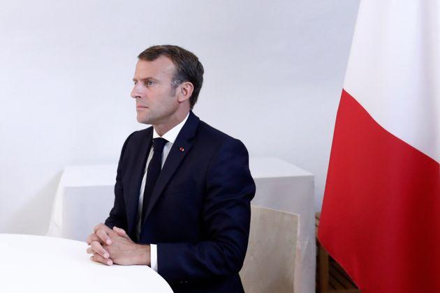 Emmanuel Macron ce 19 août à Brégançon lors d'une visioconférence dédiée...