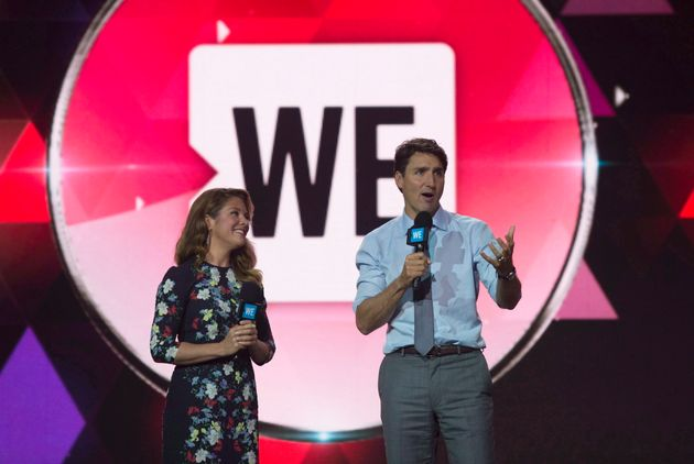 Prime Minister Justin Trudeau and Sophie Gregoire Trudeau appear on stage during WE Day in New York City...