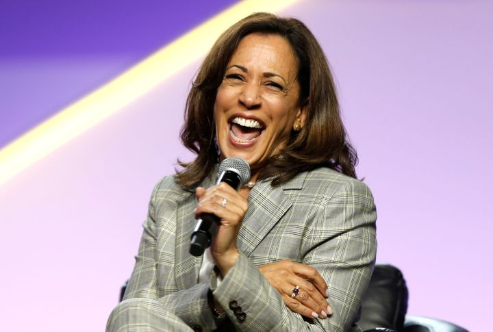Sen. Kamala Harris (D-Calif.) laughs during the presidential candidate forum at the annual convention of the National Associa