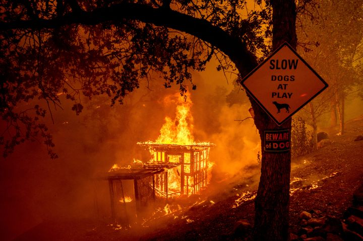 Fires are seen burning in Napa County on Tuesday. As of Wednesday morning, the state's largest wildfires had consumed ro