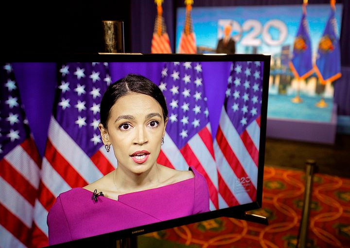 Rep. Alexandria Ocasio-Cortez (D-N.Y.) seconds the nomination of Sen. Bernie Sanders via video feed during the second day of the Democratic National Convention.
