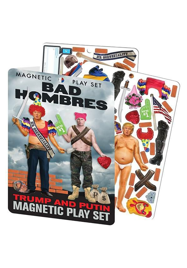 "This <a href=""https://www.fun.com/bad-hombres-trump-and-putin-magnetic-play-set.html"" target=""_blank"">magnetic Trump and Puti"