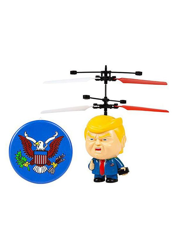 "It's not exactly Air Force One, but this <a href=""https://www.fun.com/donald-trump-motion-sensing-3-inch-ufo-helicopter.html"""