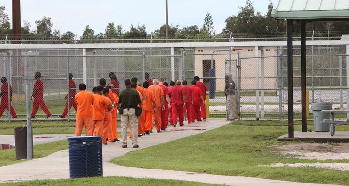 FILE PHOTO: Foreign nationals at the Krome detention center in Miami in September 2015.