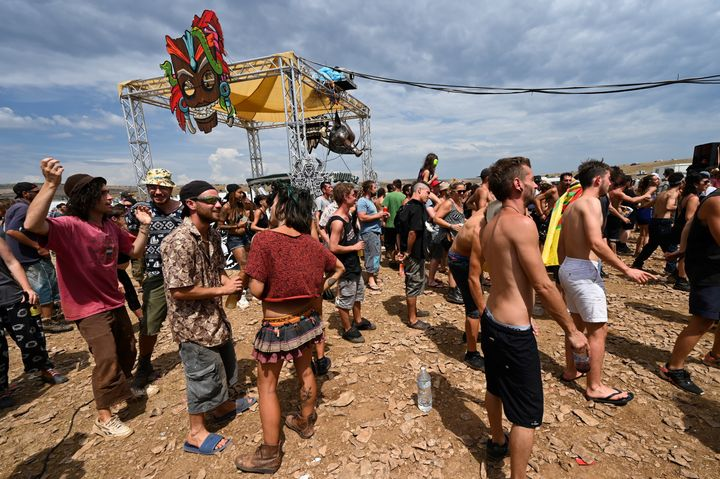 A scene from the dance party in rural Causse Mejean, southern France on August 10, 2020.
