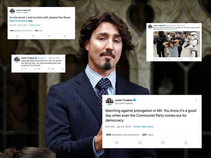 An image of Prime Minister Justin Trudeau from 2011, accompanied by several of his tweets from that era.