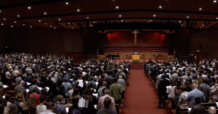 Packed pews are seen at Grace Community Church's July 26 morning service.
