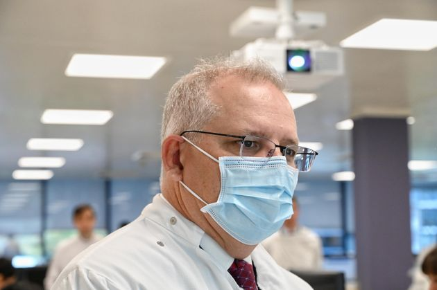 Prime Minister Scott Morrison takes a tour at the AstraZeneca laboratories in Macquarie Park, on August...